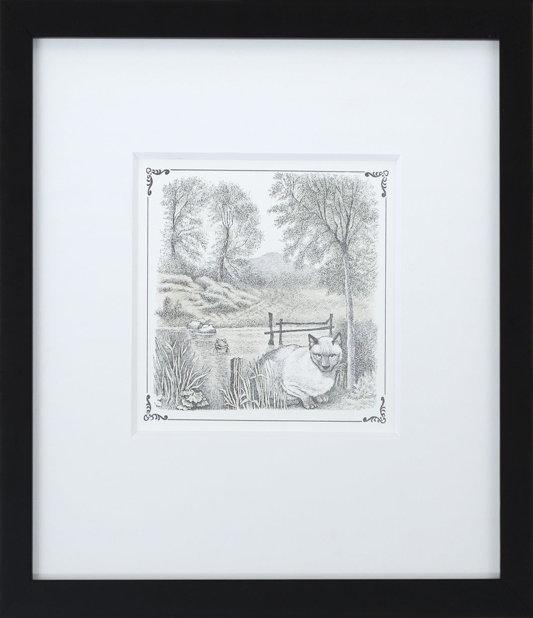 Cat by Lake by Maurice Sendak Framed Art Print - Special Edition