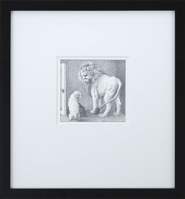 Jenny and Lion by Maurice Sendak Vintage Print Framed in Black - Special Edition, by Museums.Co