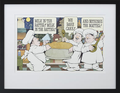 Milk in the Batter by Maurice Sendak Vintage Print Framed in Black - Special Edition, by Museums.Co