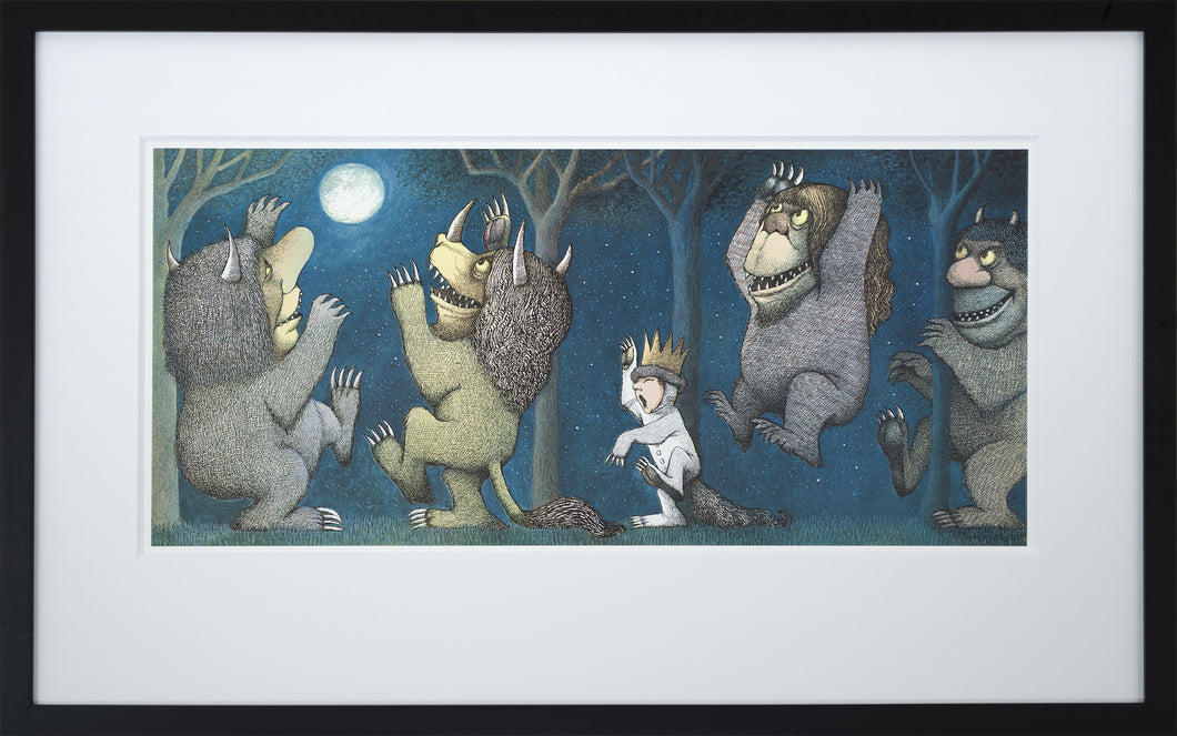 Max Howling at the Moon by Maurice Sendak Vintage Print Framed in Black - Special Edition, by 2020ArtSolutions
