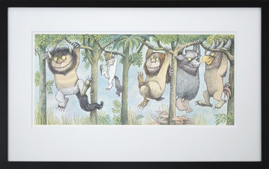 Hanging from Tree Limbs by Maurice Sendak Vintage Print Framed in Black - Special Edition, by 2020ArtSolutions