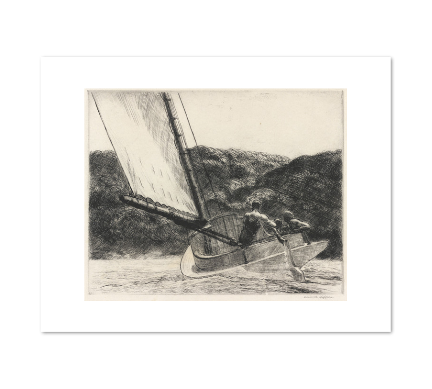 Edward Hopper, The Cat Boat, 1922, art prints in various sizes by 2020ArtSolutions