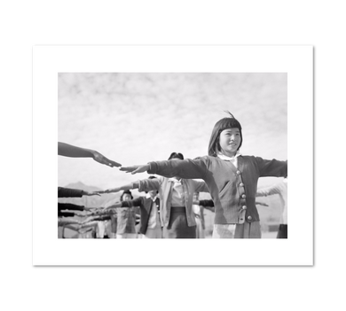 Calesthenics [sic] Female internees practicing calisthenics at Manzanar internment camp by Ansel Adams Archival Print