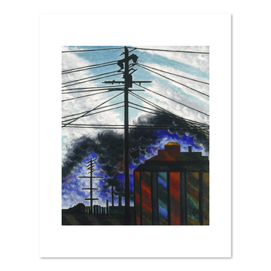 Joseph Stella, Telegraph Poles with Buildings, 1917, Art prints in various sizes by 2020ArtSolutions