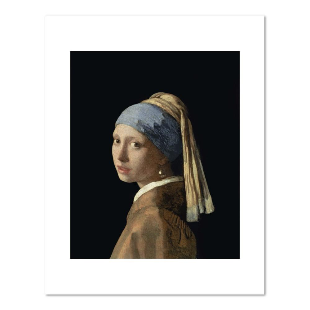 Johannes Vermeer, Girl with a Pearl Earring, c. 1665 (oil on canvas, 17 1/2 x 15 1/3 in. (44.5 x 39 cm)) Mauritshuis, The Hague, The Netherlands. Fine Art Prints in various sizes by Museums.Co