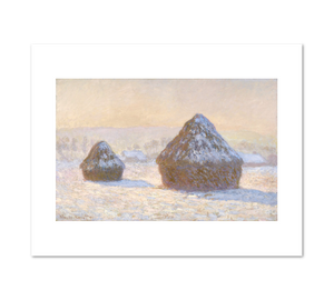 Wheatstacks, Snow Effect, Morning (Meules, Effet de Neige, Le Matin) by Claude Monet Archival Print