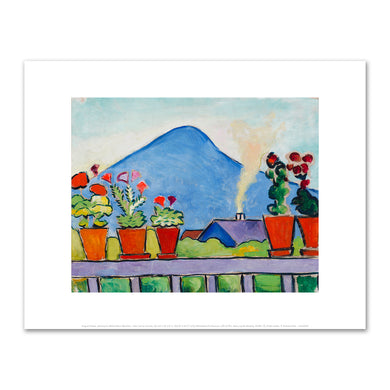 August Macke, Geraniums Before Blue Mountain, 1911, Fine Art Prints in various sizes by Museums.Co