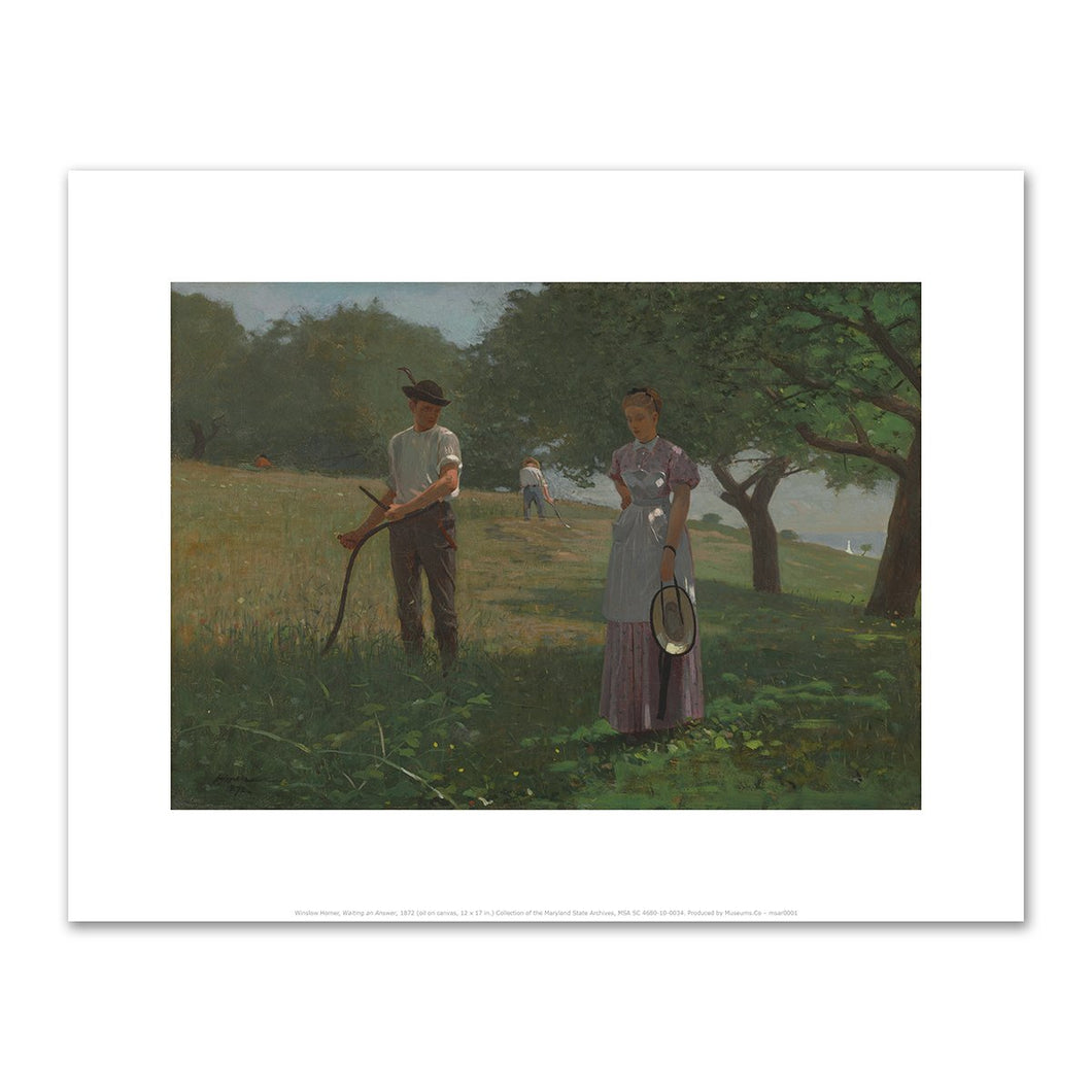 Winslow Homer, Waiting an Answer, 1872, Fine Art Prints in various sizes by Museums.Co