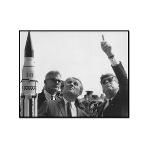 von Braun explains the Saturn Launch System to JFK
