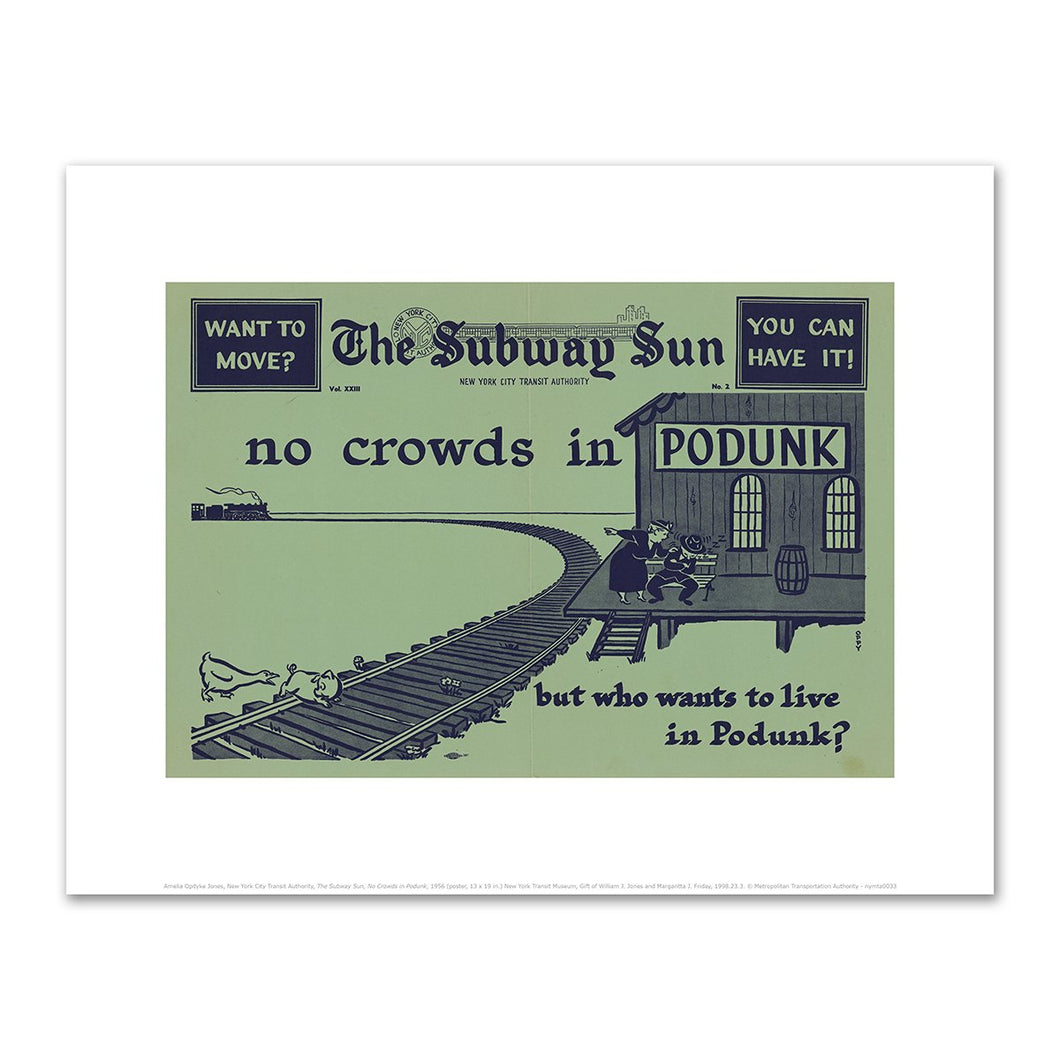 Amelia Opdyke Jones, New York City Transit Authority, The Subway Sun, No Crowds in Podunk, 1956, Fine Art Prints in various sizes by Museums.Co