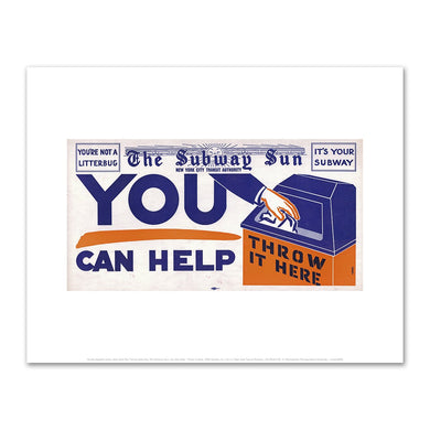 Amelia Opdyke Jones, New York City Transit Authority, The Subway Sun, You Can Help - Throw it Here, 1955, Art Prints in 4 sizes by 2020ArtSolutions