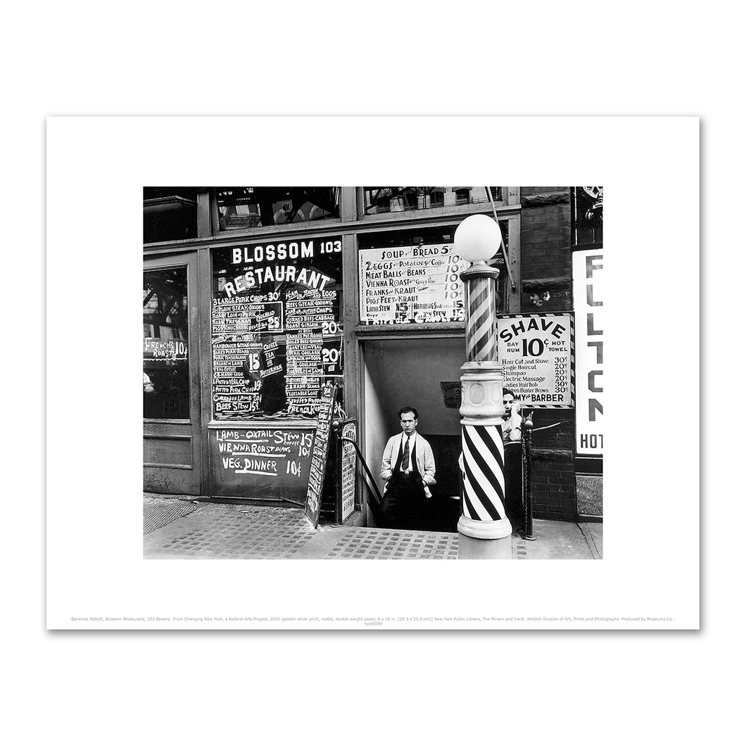 Berenice Abbott, Blossom Restaurant, 103 Bowery, Manhattan, Fine Art Prints in various sizes by Museums.Co