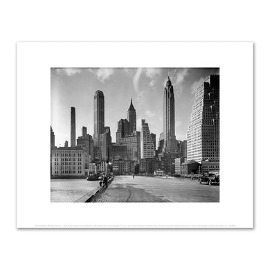 Berenice Abbott, Manhattan Skyline: I. South Street and Jones Lane, Manhattan, 1936, New York Public Library. Fine Art Prints in various sizes by Museums.Co