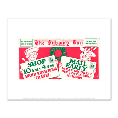 Amelia Opdyke Jones, New York City Transit Authority, The Subway Sun, Shop Early.. Mail Early Vol. XIV No. 4, 1947, New York Transit Museum, XX.2018.4.5. © Metropolitan Transportation Authority. Fine Art Prints in various sizes by Museums.Co