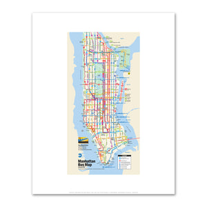 Unknown Artist, Manhattan Bus Map (detail), 2017, Fine Art Prints in various sizes by Museums.Co