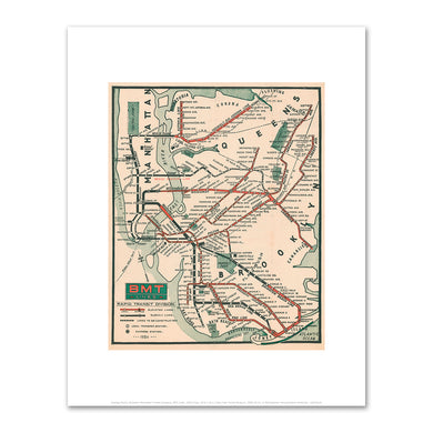 George Plachy, Brooklyn Manhattan Transit Company, BMT Lines Map, 1925, Fine Art Prints in various sizes by Museums.Co