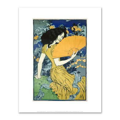 Eugène Grasset, Young woman with a fan, 1900, Fine Art Prints in various sizes by Museums.Co