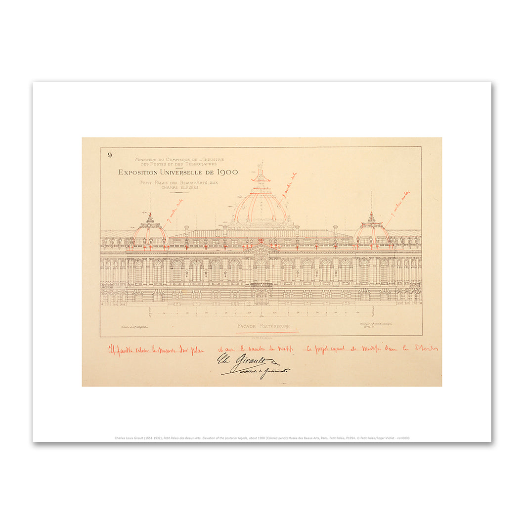 Charles Louis Girault, Petit Palais des Beaux-Arts. Elevation of the posterior façade, about 1900, Fine Art prints in various sizes by Museums.Co
