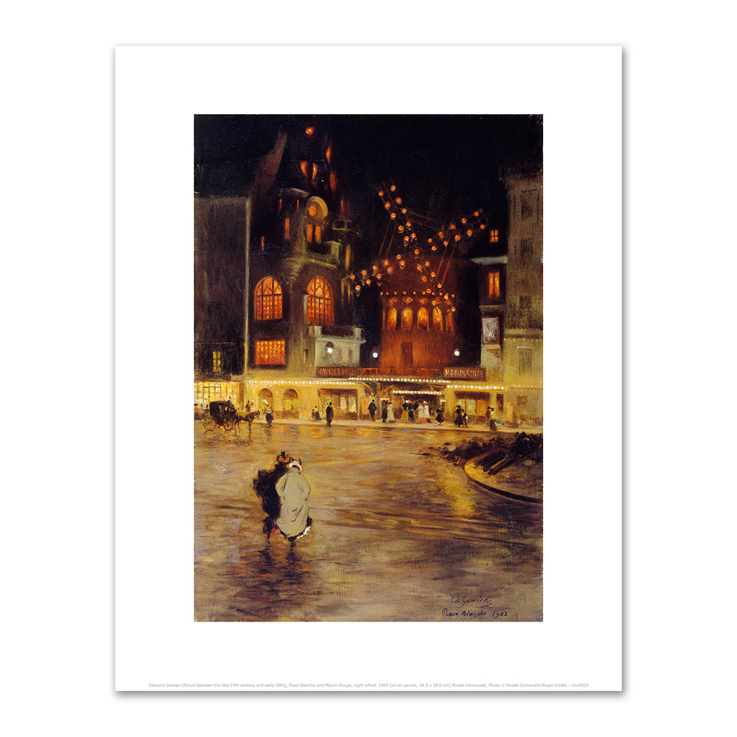 Edouard Zawiski (floruit between the late 19th century and early 20th), Place Blanche and Moulin Rouge, night effect, 1902, Fine Art Prints in various sizes by Museums.Co
