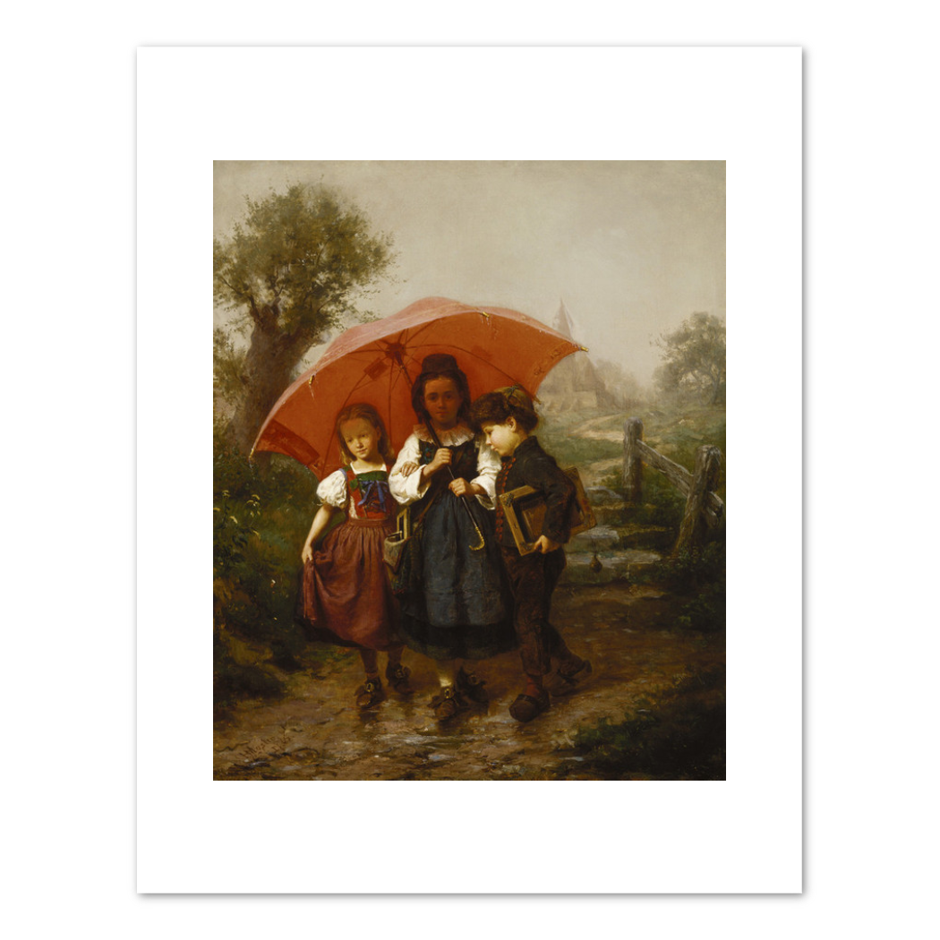 Henry Mosler, Children under a Red Umbrella, 1865, Terra Foundation for American Art. Fine Art Prints in various sizes by Museums.Co
