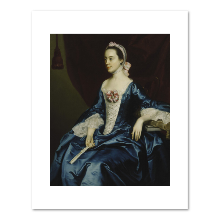 John Singleton Copley, Portrait of a Lady in a Blue Dress, 1763, Fine Art Prints in various sizes by Museums.Co