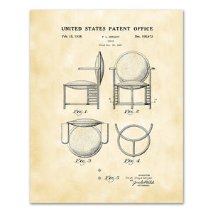 Patent Drawing DS108473 Design of a Chair by Frank Lloyd Wright