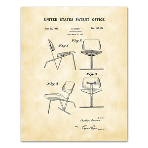 Charles Eames, Patent Drawing DS155274 Tilt-Back Chair, 2020ArtSolutions