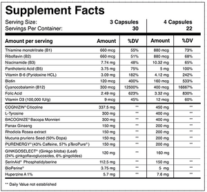 rocket focus nootropic supplement facts label