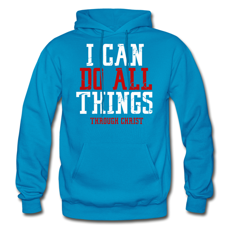I CAN DO ALL THINGS - Gildan Heavy Blend Adult Hoodie - turquoise