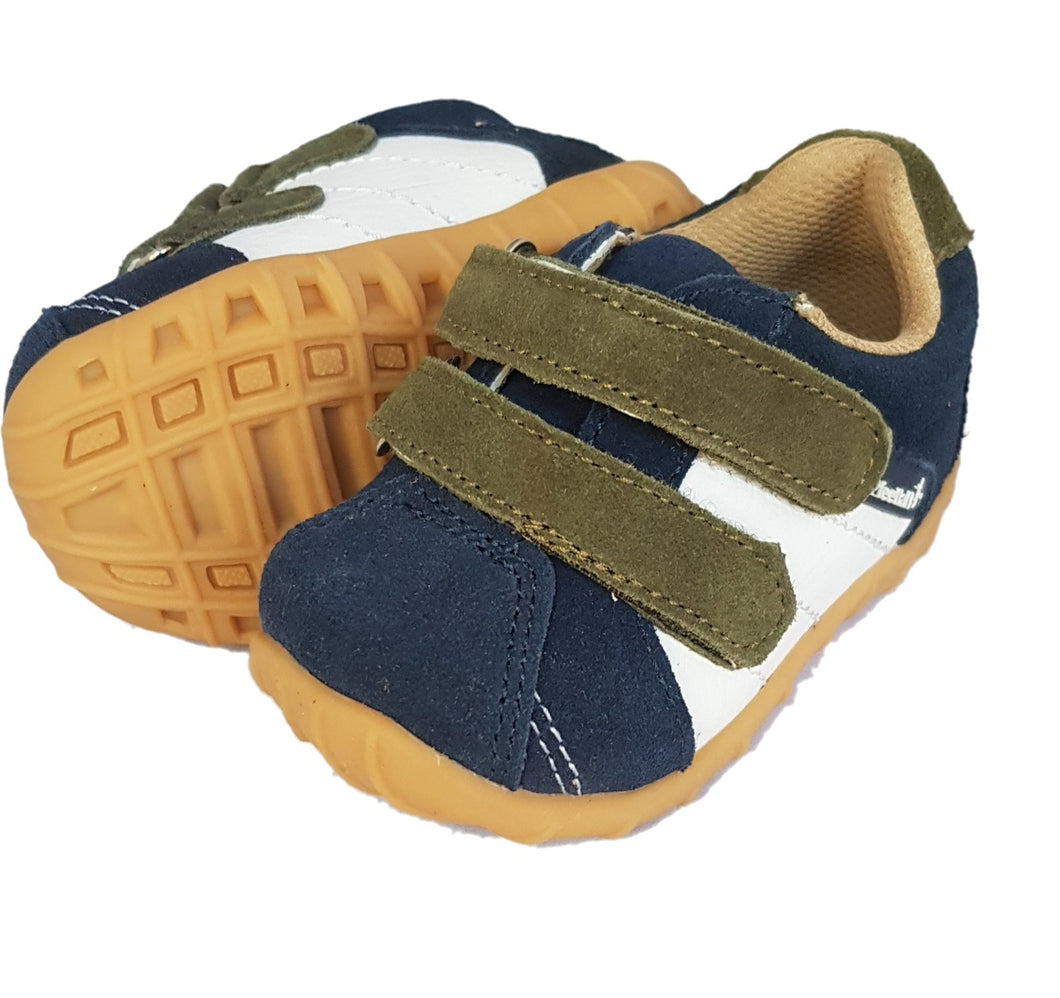 Navy Baby Sneaker size 4 with white side panels and moss green hook and loop straps