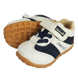 White Leather toddler sneakers with navy trim