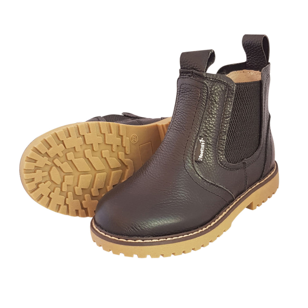2FeetTall | Children's black leather Angus boots side on