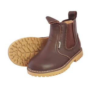 2FeetTall | Children's brown leather Angus boots side on