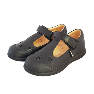 2FeetTall | Girls black leather T-bar School Shoes