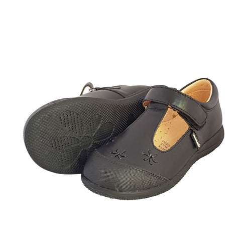2FeetTall | Girls black leather T-bar School Shoes side on