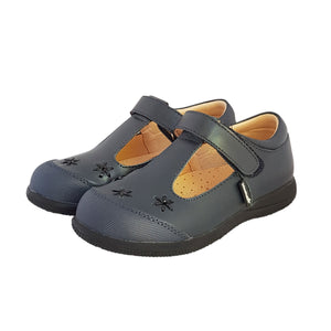 2FeetTall | Girls navy leather T-bar School Shoes