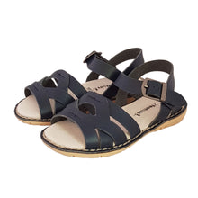 Load image into Gallery viewer, 2FeetTall | Girls navy Coast leather sandals