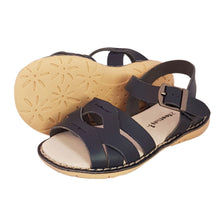 Load image into Gallery viewer, 2FeetTall | Girls navy Coast leather sandals side on