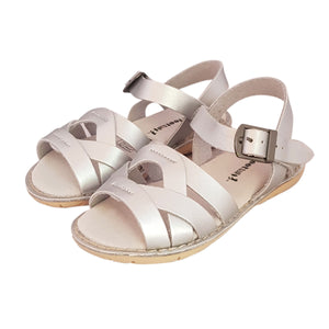 2FeetTall | Girls silver Coast leather sandals