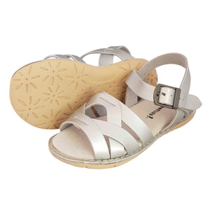 2FeetTall | Girls silver Coast leather sandals side on