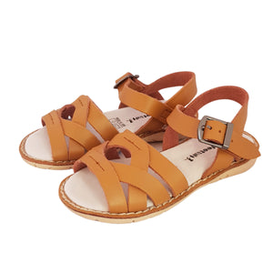 2FeetTall | Girls tan Coast leather sandals side on