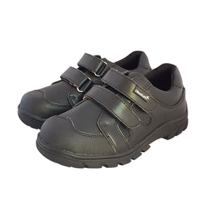 2FeetTall | Boys black leather velcro School Shoes