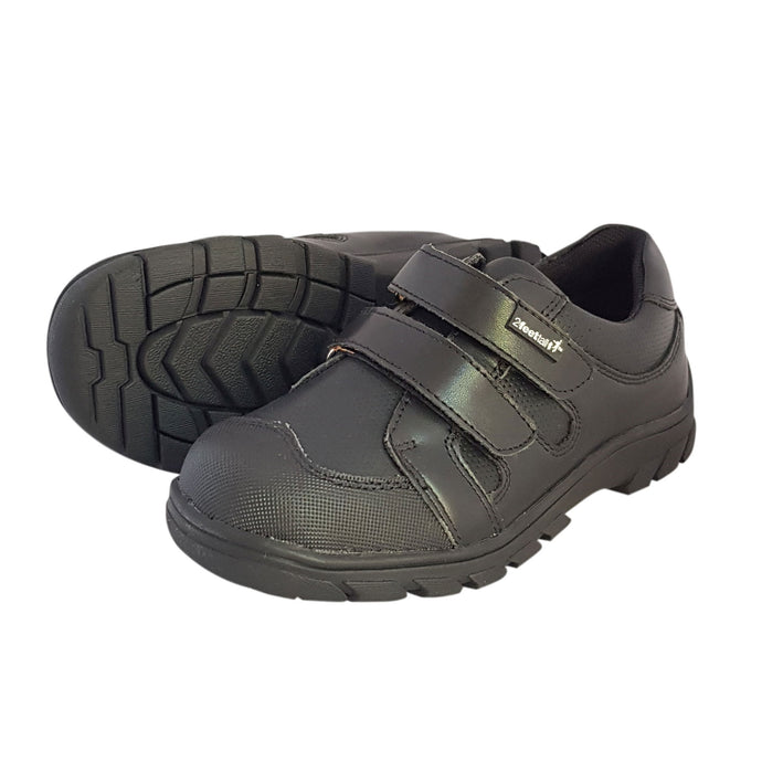 2FeetTall | Boys black leather velcro School Shoes side on