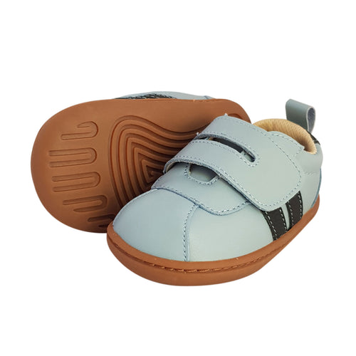 2FeetTall | Blue leather first walker velcro sneakers with rubber sole side on