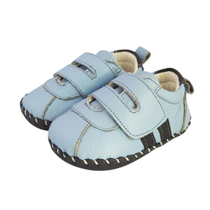 2FeetTall | Blue leather baby velcro sneakers