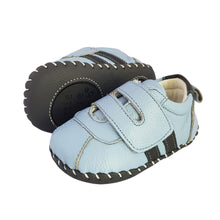 Load image into Gallery viewer, 2FeetTall | Blue leather baby velcro sneakers side on