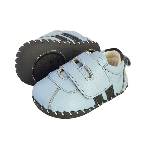 2FeetTall | Blue leather baby velcro sneakers side on