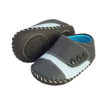 Load image into Gallery viewer, 2FeetTall | Blue leather and suede baby shoes side on