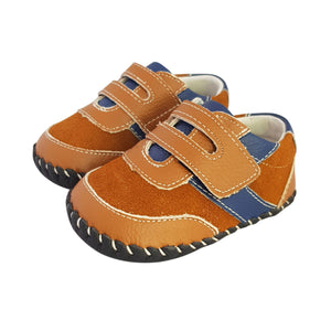 2FeetTall | Brown and blue leather and suede baby shoes
