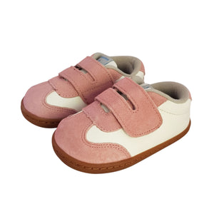 2FeetTall | Pink leather and suede baby sneaker with rubber sole